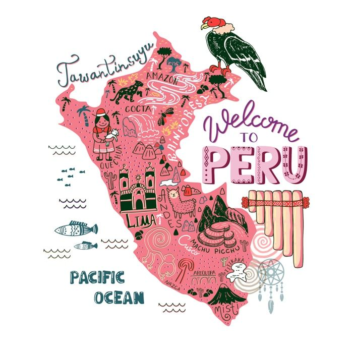 Illustrated map of Peru. Top 10 Things to Do in Peru