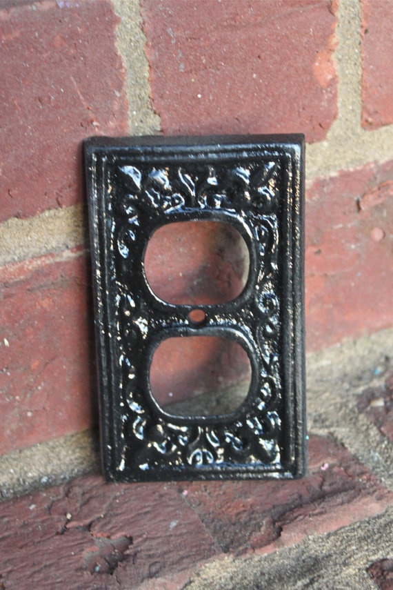 black decorative electrical outlet plate plugin by