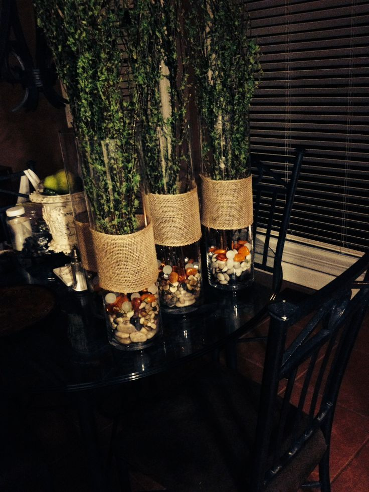 Center pieces for the diner tables for the outdoor party, birch branches, river rock, burlap!!!! Fun and easy.....