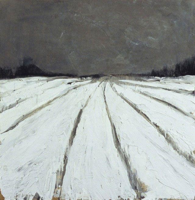 'Untitled Field' (2006) by American painter Abby Kasonik. Mixed media on hardboard, 24 x 24 in. via the artist's site
