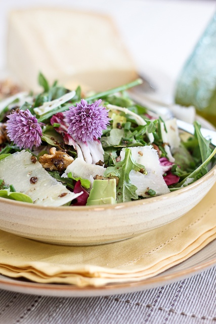 Simple Arugula Salad with Chive Flowers