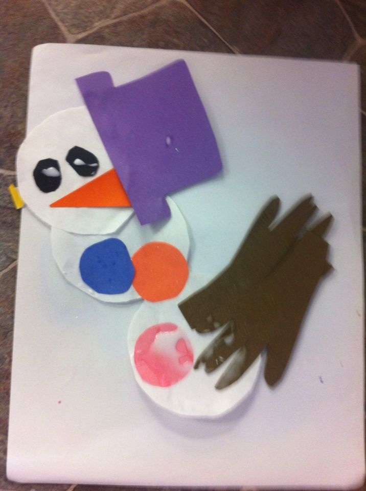 The Picasso of snowmen. The art of letting our 2 year olds make a snowman the way they see it. 2 white circles, a hat, two black eyes, triangle nose, hands that is actually their own hands, and buttons. We discussed where you would find these on our own body and where to put it on the snowmen.