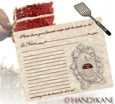 Cinderella recipe card bridal shower favors