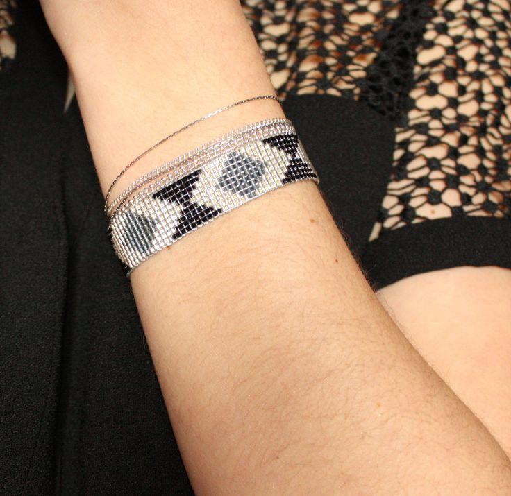 Bracelet tissé / Perles Miyuki / ARGENT, GRIS NOIR / : Bracelet par tadaam-bijoux