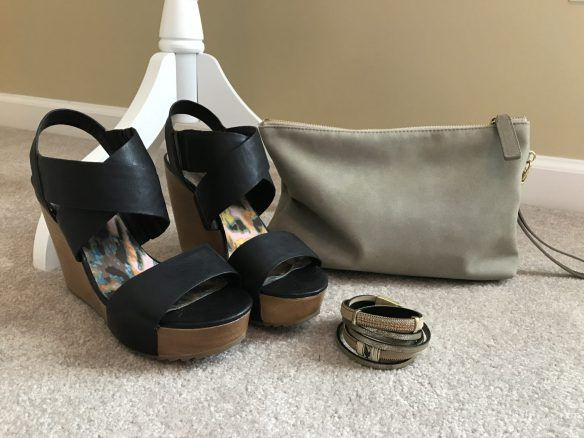 Neutral Clutch, Black Wedge Sandals, and Infinity Bracelet