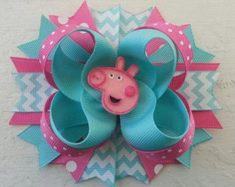 Aqua & Hot Pink Peppa Pig Inspired Hair Bow -Peppa Pig Birthday Hair Bow