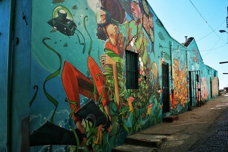 Underwater graffiti art with a mermaid. From the graffiti contest in Polanco, Valparaiso, Chile.