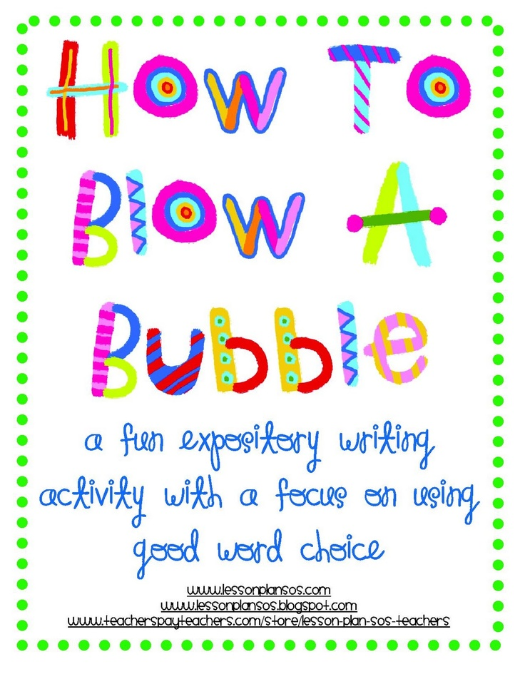 Narrative writing on How to Blow a Bubble: Gum, then what I did, then revise for good word choice.