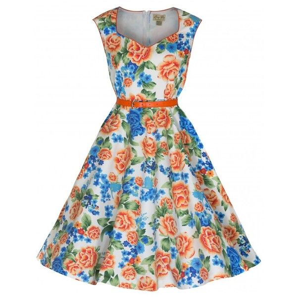 'Yulia' Vintage 1950's Orange Classy Miami Beach Floral Swing Dress ($39) ❤ liked on Polyvore featuring dresses, blue, vintage dresses, floral skater skirt, vintage circle skirt, blue floral dress and blue skater skirt