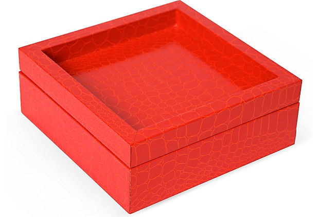 Olivia Song Orange Croc Jewelry Box I on OneKingsLane.com