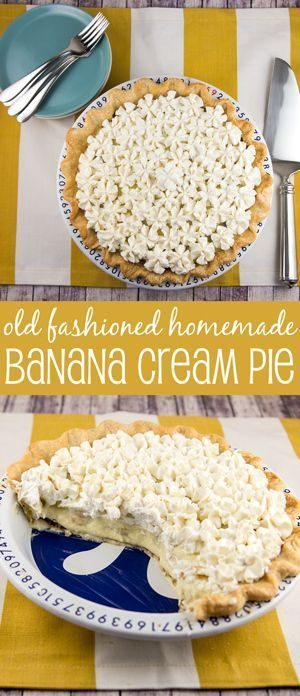 Old Fashioned Banana Cream Pie: A traditional, homemade diner-style pie - banana-infused pastry cream, sliced fresh bananas, and sky-high whipped cream. {Bunsen Burner Bakery}