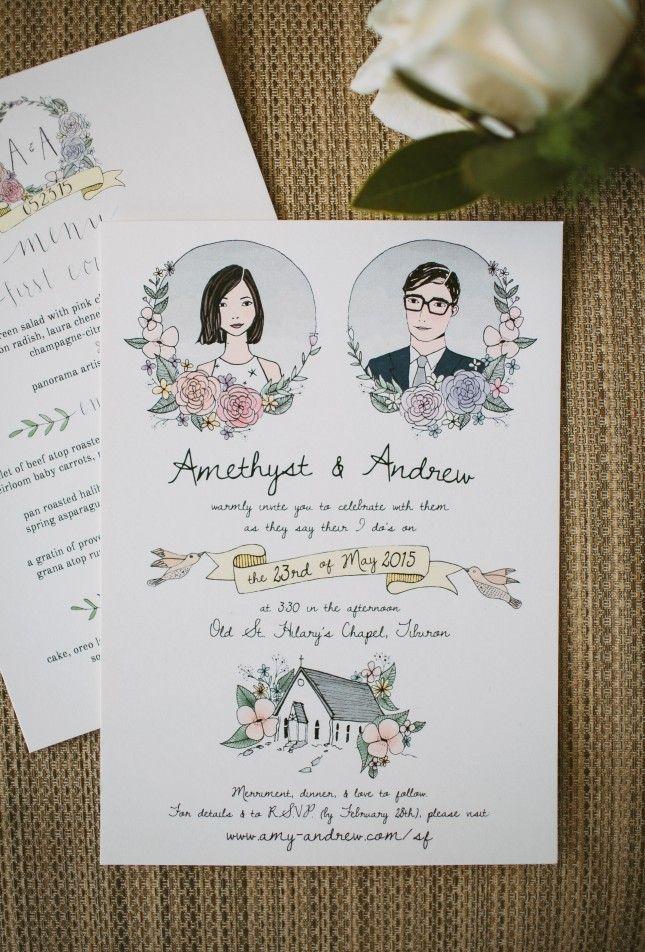 Escolha seu(sua) ilustrador(a) favorito(a) e manda ver no convite de casamento! Desenhos feitos com aquarela ficam românticos e perfeitos para convites.