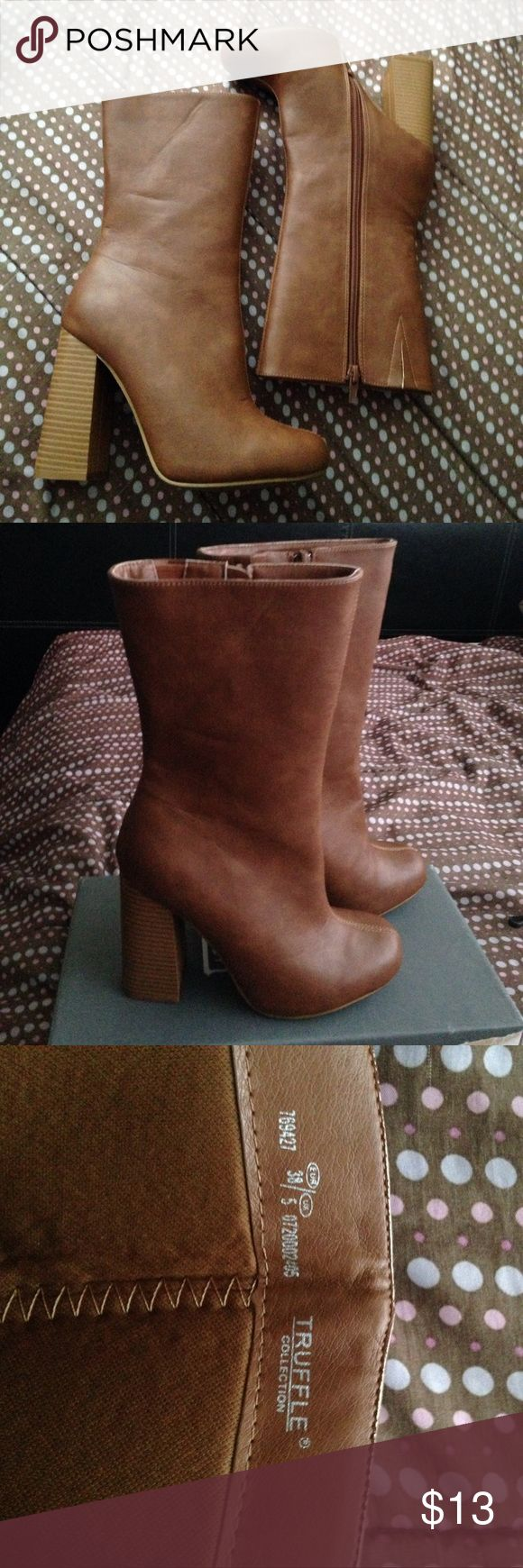 Truffle collection Tall leather brown heeled boot Size U.S 7.5 , has wrinkles from being worn once.  Has a zipper on the side. There too small for me, MUST Go thanks Asos Shoes Heeled Boots