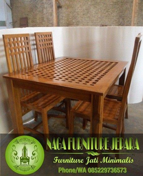 set meja makan kayu jati minimalis 4 kursi jari-jari jakarta jepara
