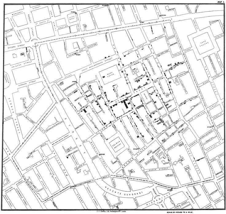 This was the overview map of John Snow's study on Cholera epidemic. He visited each households to test if the water has been contaminated with Cholera.