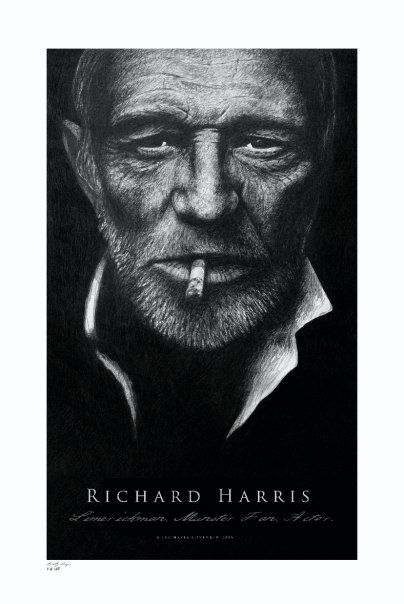 Portrait of Richard Harris. Graphite on wood. 150cm x 50cm.