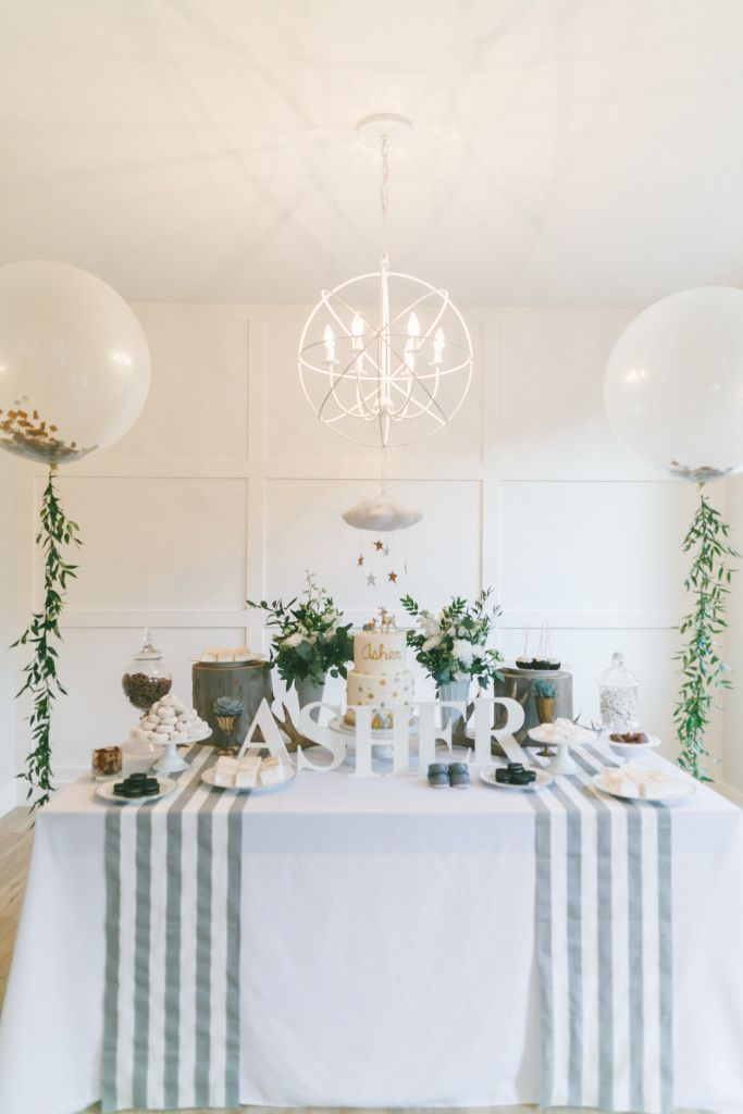 Gold & White Baby Shower – Welcome Baby Asher- Arrow and Lace Design.  Florals by Confetti Floral Design