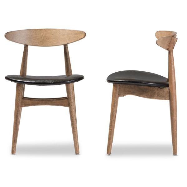 Baxton Studio Edna Mid-century Modern French Oak Finishing Bentwood Dining Chair (Set of 2)