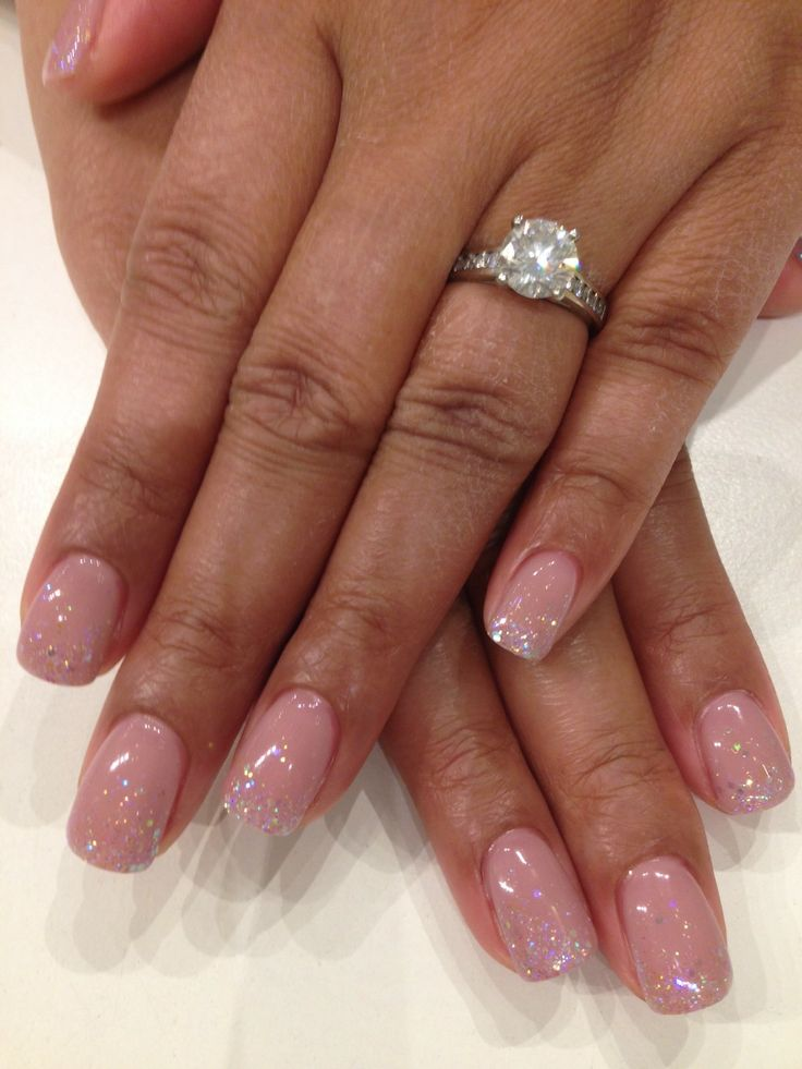 Bio Sculpture Gel colour: #2093 - Ivory Beige with cascading iridescent glitter tips