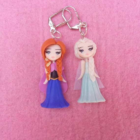 Anna elsa earrings and frozen fimo polymer clay por Artmary2