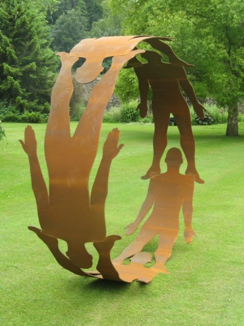 Steel Human Figurative #sculpture by #sculptor Pete Moorhouse titled: 'Human Circle' #art