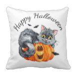 Cat Pumpkin Bats Happy Halloween Throw Pillow | Zazzle.com