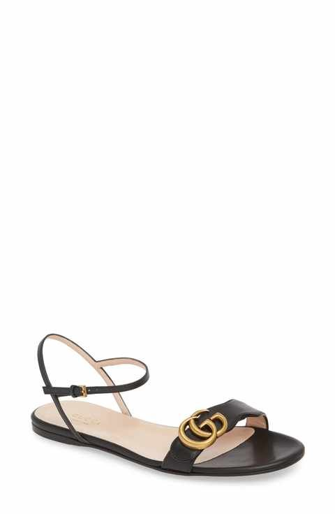8798fed13 Free shipping and returns on Gucci Marmont Quarter Strap Flat Sandal  (Women) at Nordstrom.com. Double-G hardware in a warm golden tone  highlights the vamp ...