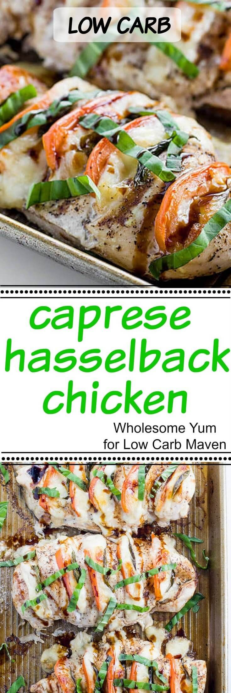 This Caprese Hasselback Chicken uses fresh mozzarella cheese, basil, & balsamic vinegar for a tasty fast & easy weeknight meal. Low carb, Keto, gluten free.