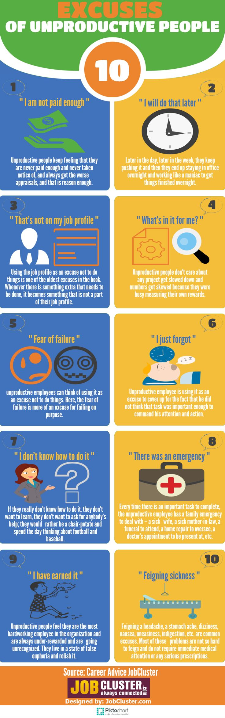 10 Excuses of unproductive people-Infographic