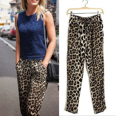 Women-Leopard-Print-Drawstring-Stretchy-Loose-Pocket-Trousers-Dance-Harem-Pants