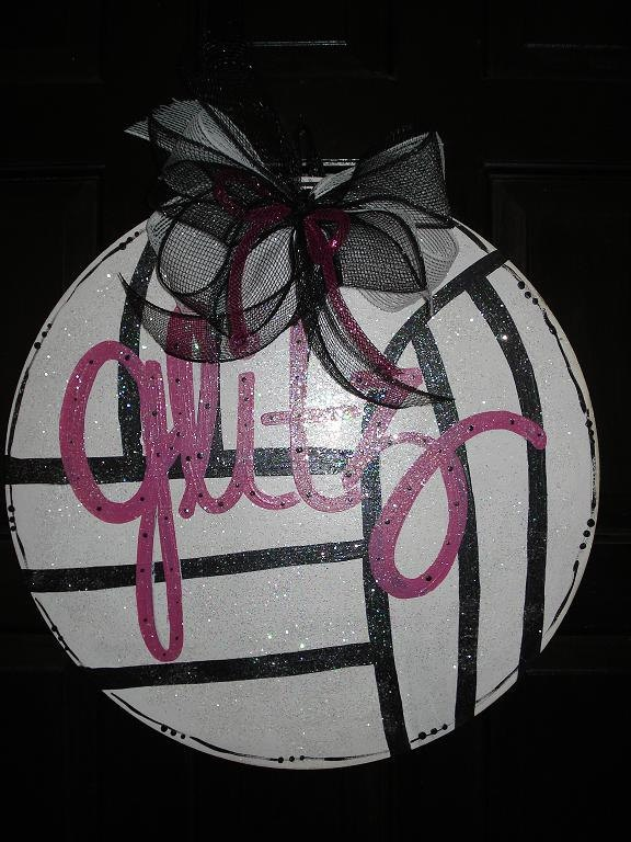 Volleyball door decor hanger or wall decoration personalized with Mascot or school. $24.00, via Etsy.