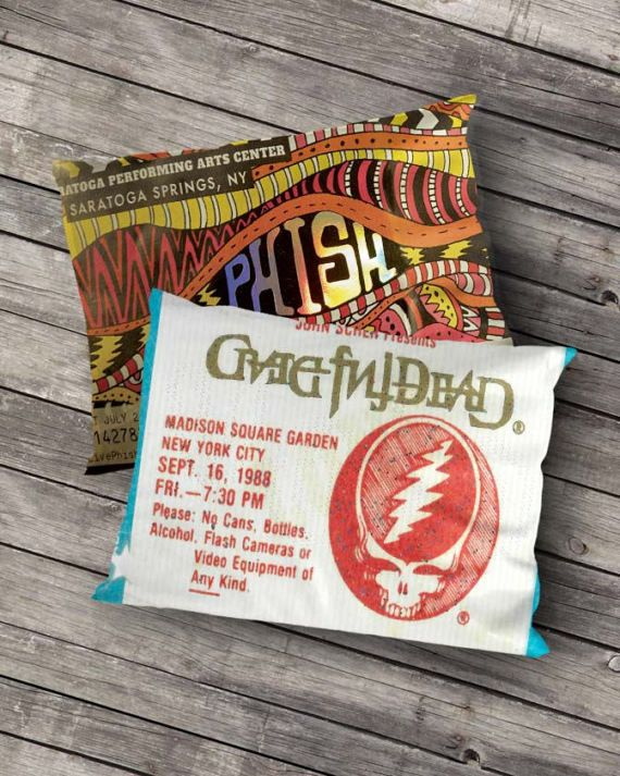 Now you can turn your old concert ticket stubs into a one-of-a-kind throw pillow at Phunky Threads! Our pillows are high quality two sided prints. :::::::::::::::::: FREE U.S.A. SHIPPING :::::::::::::::::: If you are an international customer you must contact us before placing