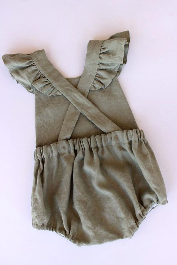 d132ff8a3f9d This vintage style romper for babies and toddlers made from 100% sage green  linen is the sweetest addition to your childs wardrobe.