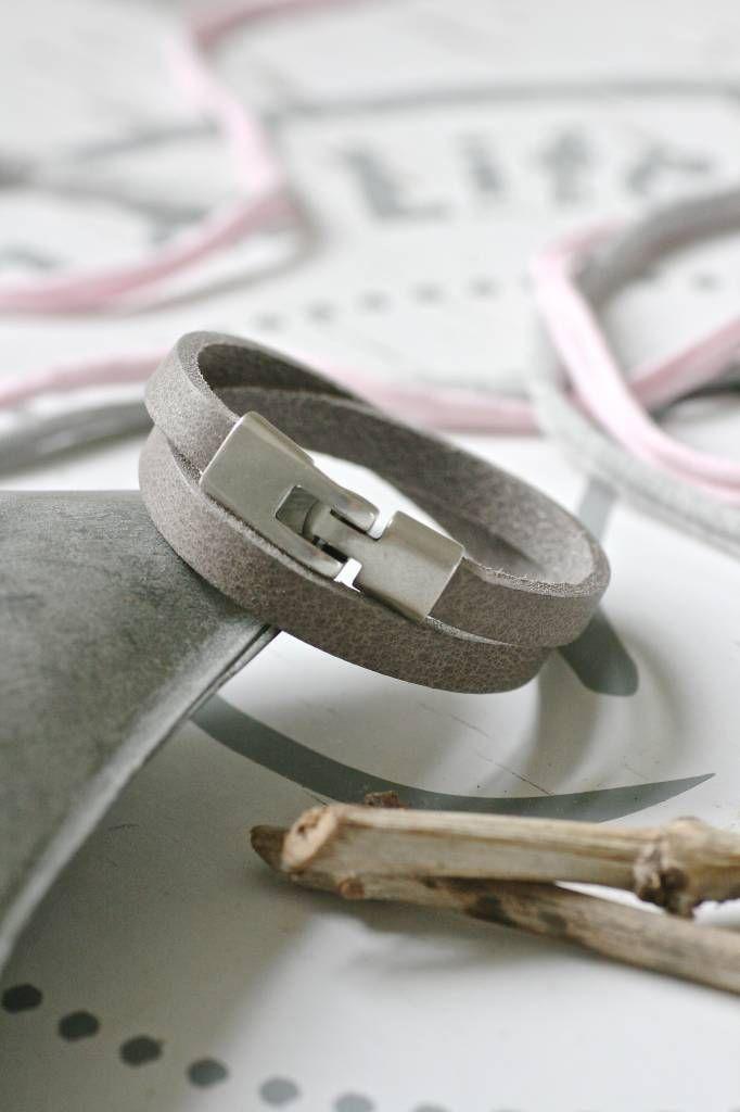 Dubbele leren Armband, grijs