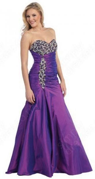 Princess Sweetheart Taffeta Floor-length Purple Rhinestone Prom Dress