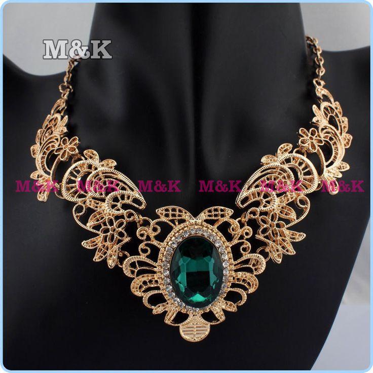 Fahion золотая цепь цветов ожерелья металлические стразы большой хрустальный биб себе воротник колье ожерелья бесплатная доставка
