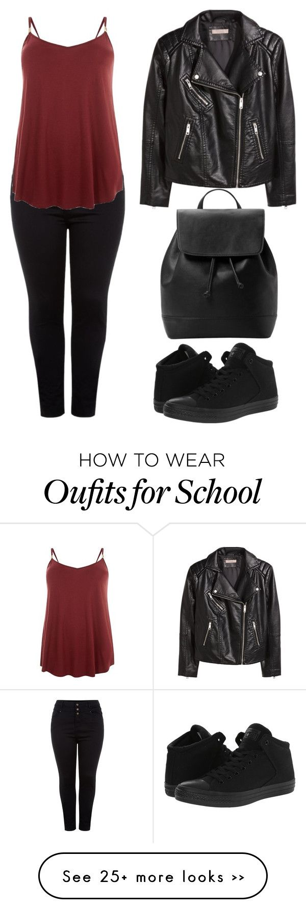 """""""Back to School"""" by andiebonham on Polyvore featuring H&M, Converse and MANGO"""
