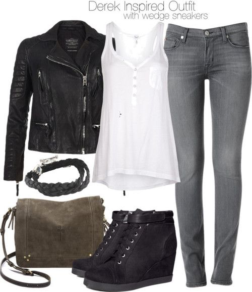 Splendid v neck top / AllSaints leather jacket / Hudson Jeans clothing / H&M wedge sneaker, $40 / Jérôme Dreyfuss brown purse / King Baby Studio sterling silver bracelet
