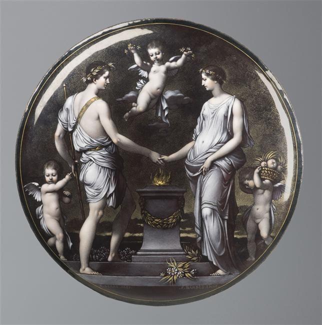 Série de huit plaques décoratives pour un coffret de mariage : L'Hymen Barbedienne Ferdinand (1810-1892) Serre Alfred (fin 19e siècle) ,  émailleur, 1889