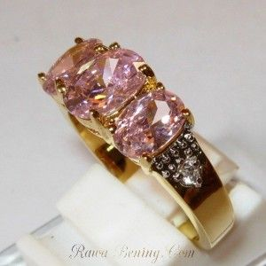 Cincin Pink Sapphire CZ Ring 7US Yellow Gold Filled 10K