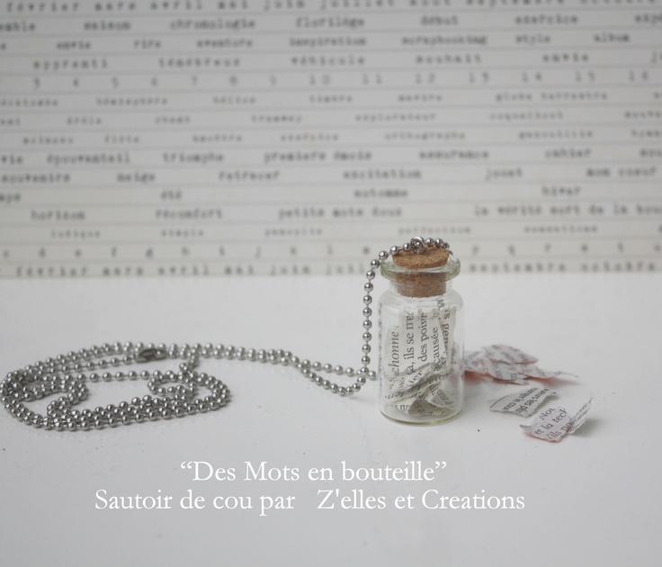 Petite fiole, chaînette au metre, des bouts de mots capturés pour un sautoir original... Inspiration Magazine Femina (Suisse)
