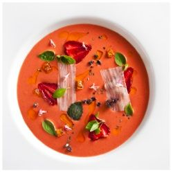 Strawberry Gazpacho from chef Daniel Humm of Eleven Madison Park and The NoMad Hotel