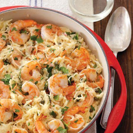 Class it up! Spaghetti Squash Shrimp Scampi
