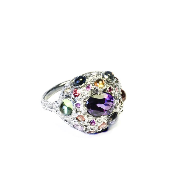 Colorful multi-gemstone dome ring with violet sapphire