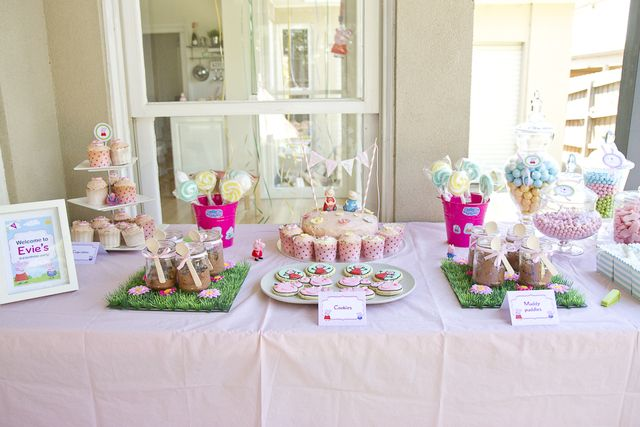 Fun dessert table at a Peppa Pig party!  See more party ideas at CatchMyParty.com!  #pig #partyideas
