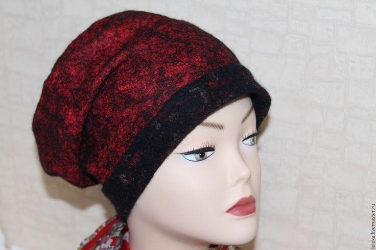"""Купить шапка-колпак""""фламенко"""" - ярко-красный, однотонный, шапка-колпак, женская шапка, шерсть меринос"""