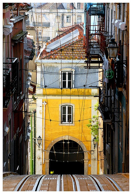 "Climbing the hill on the ""Bica"" funicular #Lisbon, Portugal"