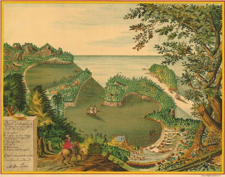 Acapulco, Guerrero (1628). Puerto de Acapulco en el Reino de la Nueva Expaña en el Mar del Sur. Litog. Ruffoni, 1628.