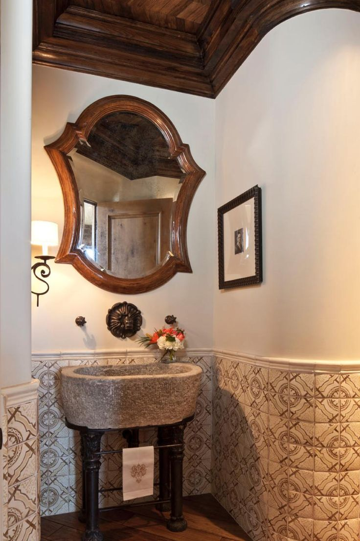 Mediterranean patio design by los angeles design build hartmanbaldwin - Gorgeous Tile Wraps Around The Curved Walls Of This Mediterranean Powder Room A Rustic Stone