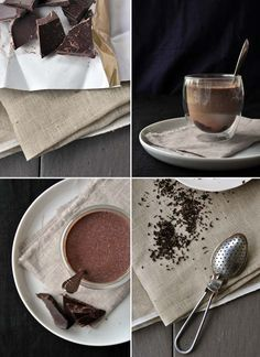 Earl Grey Hot Chocolate via Our Kitchen. 1.5 cups milk, 1.5 tsp earl grey tea, 6 squares of dark chocolate, or to taste. (serves 2) Combine milk + tea in saucepan, gently heat w/o boiling for 10 minutes. Pour over 3 squares chocolate in a heat-proof glass.